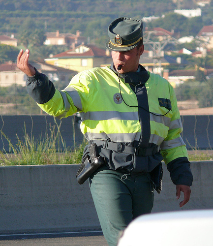 A Guardia Civil chappie showing off his Penis substitute recently...